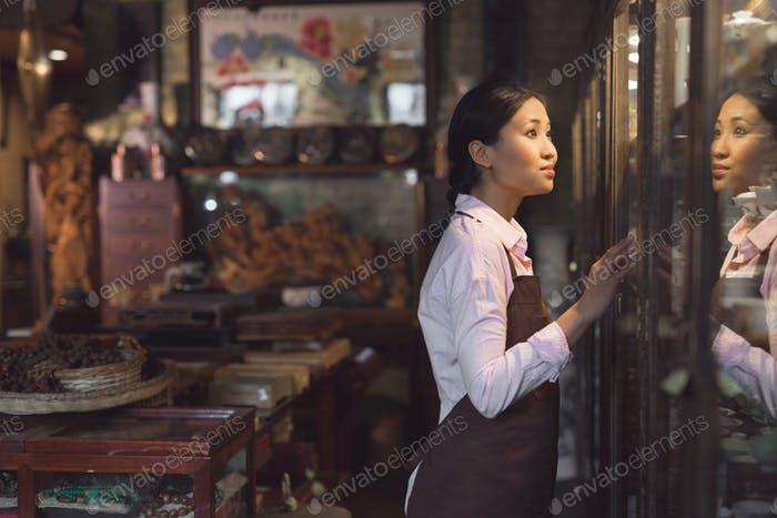 Young woman in an apron