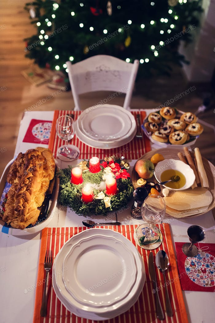 Christmas meal on a table