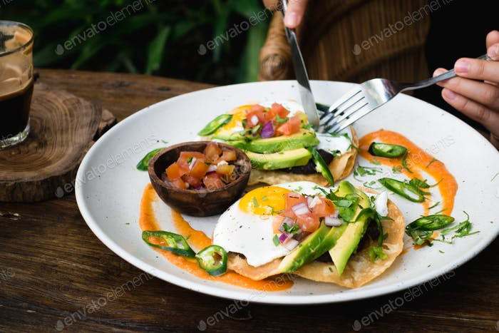 Tacos with eggs and avocado for breakfast