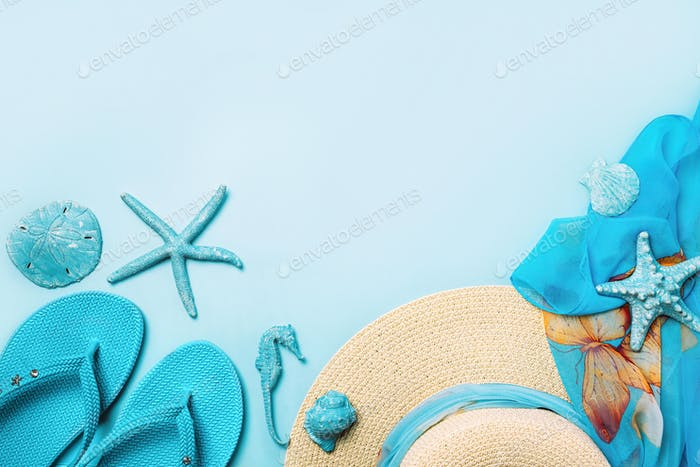 Summer fashion on blue and coral background.