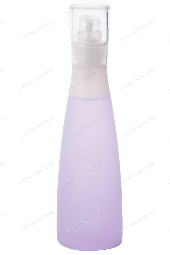 Cosmetic bottle with purple liquid inside isolated over white ba