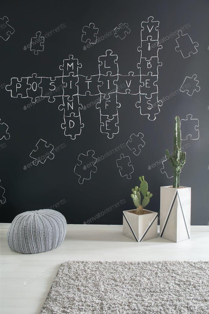 Crossword puzzle chalkboard wall decor