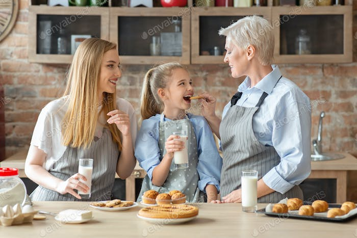 Female family spending time together on weekend