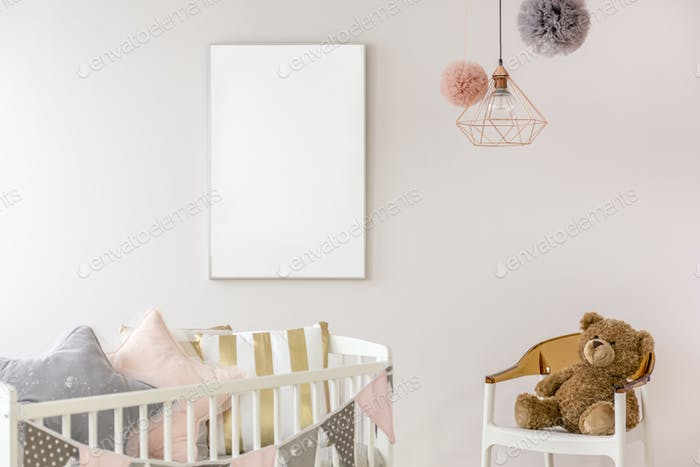 Newborn bedroom with white crib
