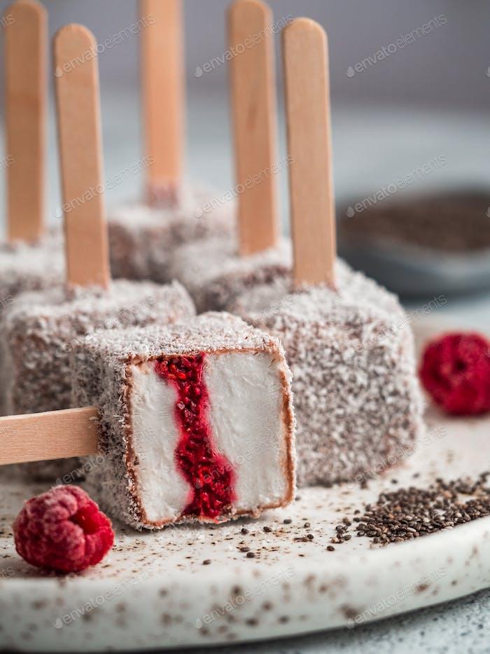 Lamington ice cream pops