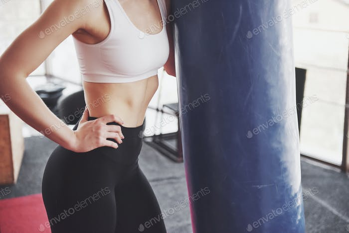 Active girl in fitness gym. Concept workout healthy lifestyle sport