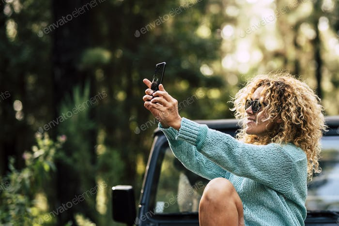 Outdoor people enjoy technology in outdoor nature