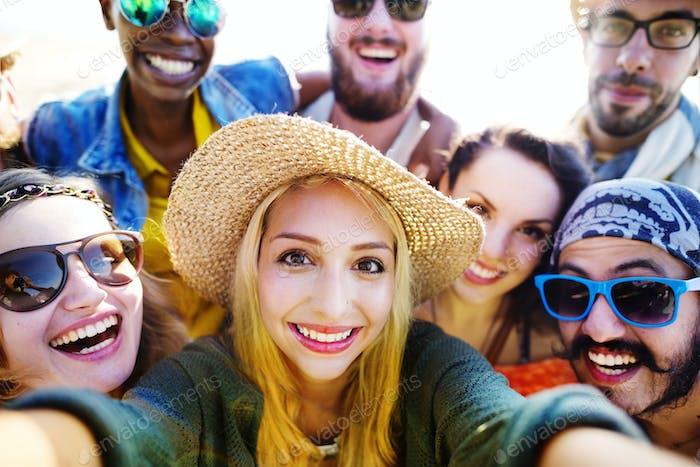 Diverse People Beach Summer Friends Fun Selfie Concept