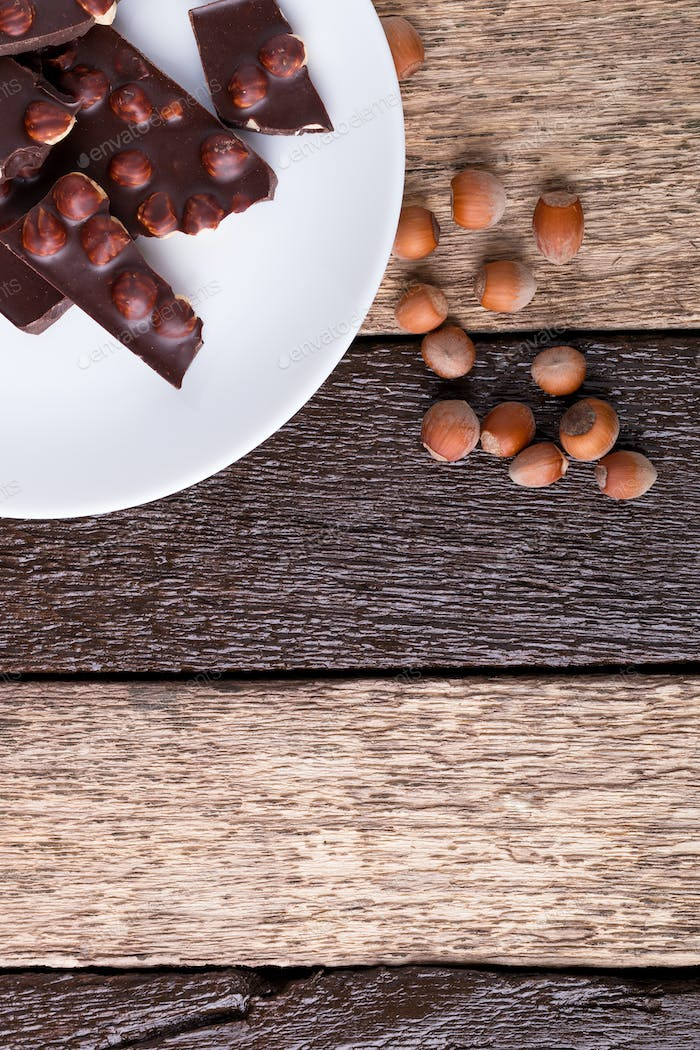 Chocolate pieces with hazelnut nuts