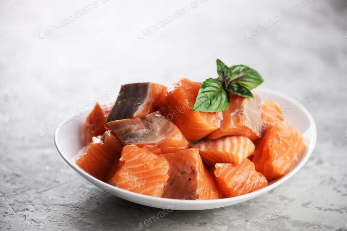 Pieces of salmon fillet fish