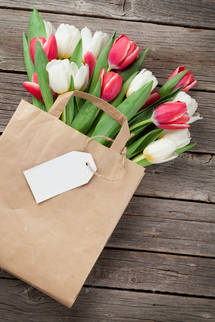 Colorful tulips in bag
