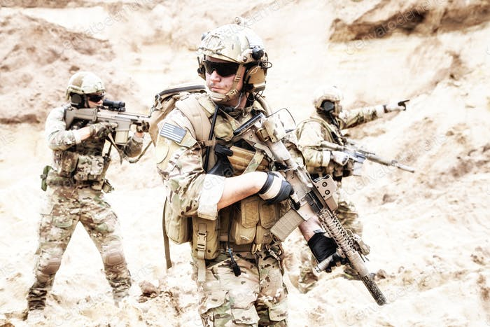 Special forces teamwork in desert raid operation