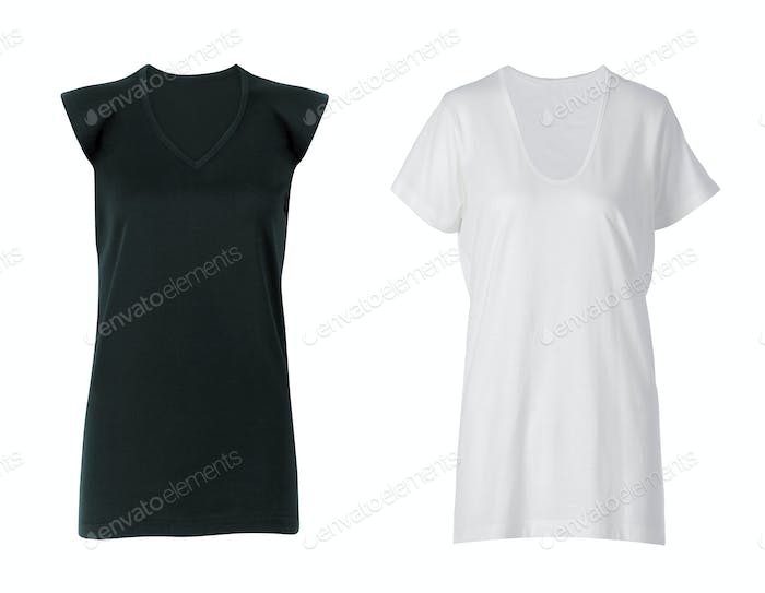 Black and white shirts isolated