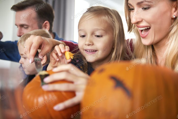 Happy family preparing to Halloween