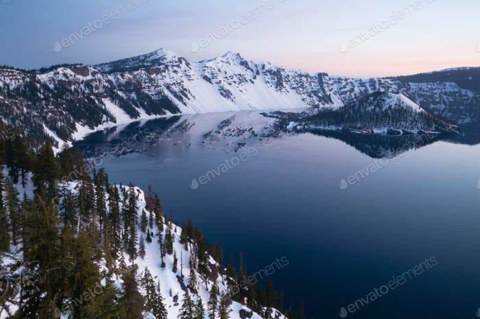 North Rim Winter Sky Sunst Mount Scott Crater Lake Oregon