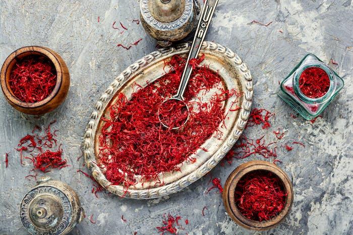 Dried saffron spice