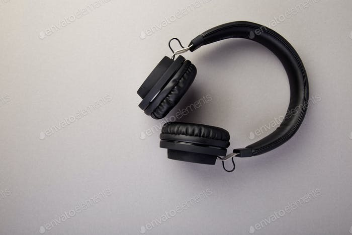 Black Headphones. Flatl lay
