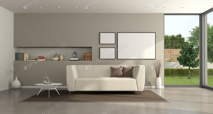 Minimalist living room of a modern villa
