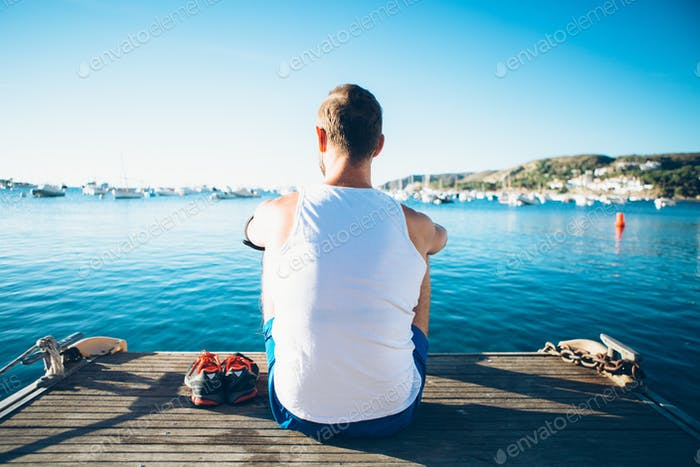 Man admiring seascape