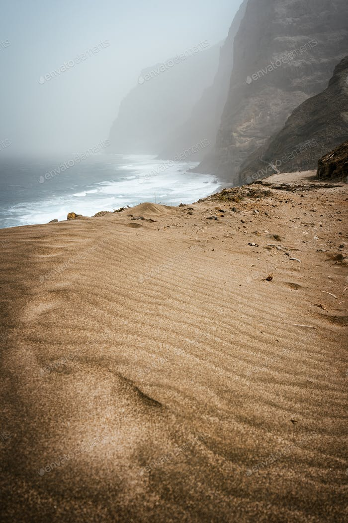 Santo Antao, Cape Verde - Cruzinha da Garca. Mountain moody coastline and Atlantic ocean waves