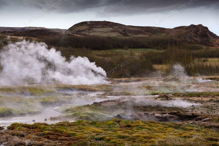 Beautiful Icelandic landscape with geysir