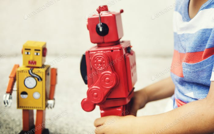 Boy Playing Robot Enjoyment Leisure Fun Concept