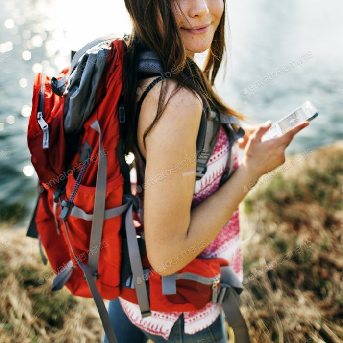 Explore Adventure Backpacker Hiking Trek Travel Concept