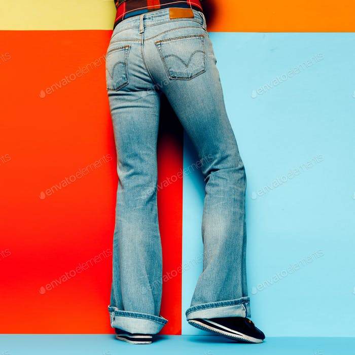 Jeans flared Minimal Design Stylish girl
