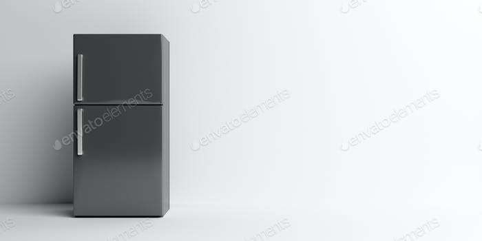 Fridge home appliance, refrigerator, black color on white. 3d illustration
