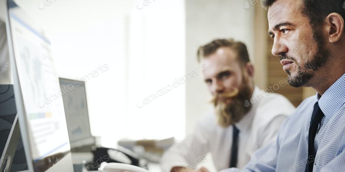 Businessmen Working Connecting Computer Planning Concept