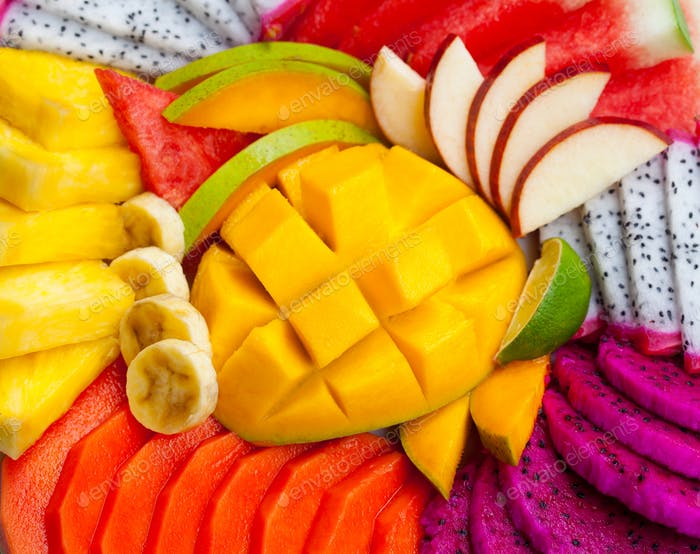 Tropical Exotic Fruits Assortment. Top View. Close up.