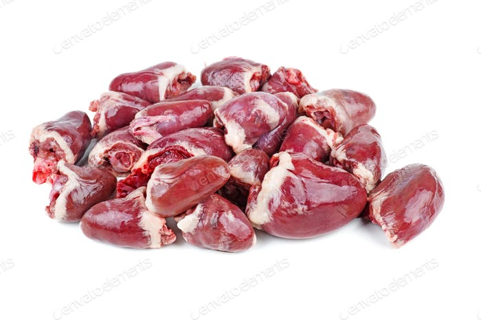 Raw turkey (or chicken) hearts isolated on white background