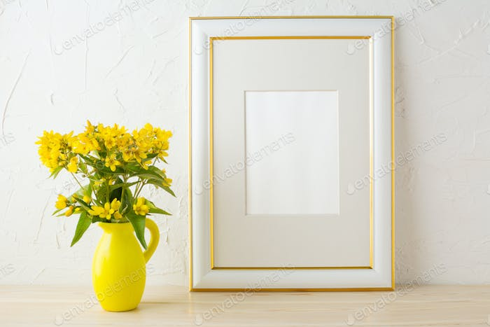 Frame mockup with small yellow flowers in stylized pitcher vase