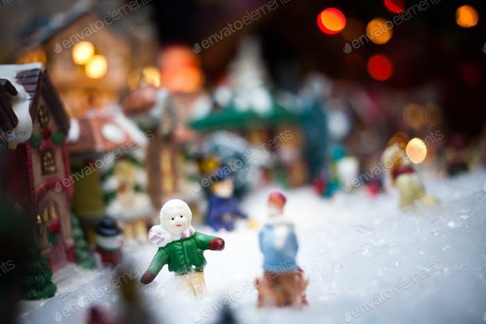 Miniature Christmas Village under Xmas Tree