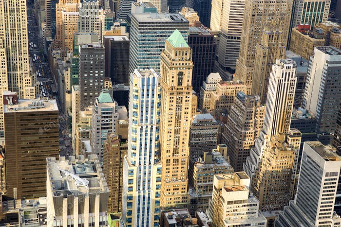 Manhattan cityscape aerial view