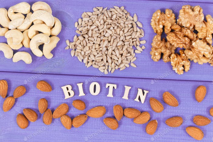 Inscription biotin with nutritious products containing vitamins and dietary fiber, healthy nutrition