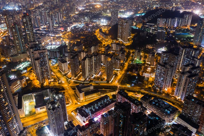 Wong Tai Sin, Hong Kong, 09 October 2018:- Hong Kong city at night