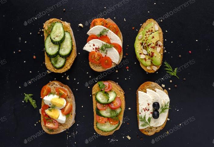 Set of fresh sandwiches snacks