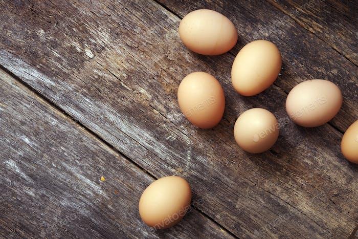 Eggs on Wood Table