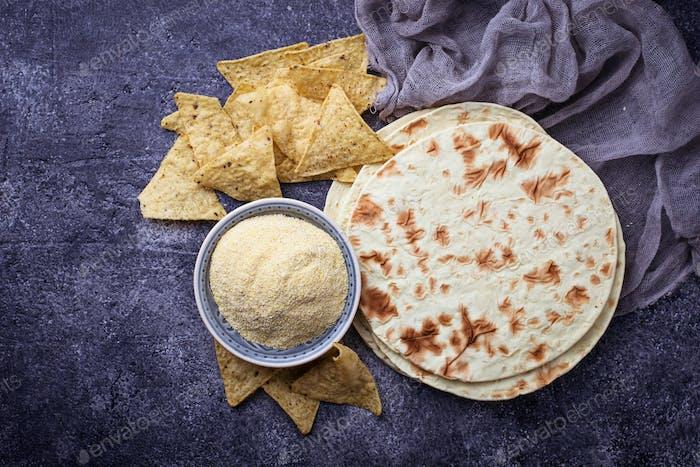 Mexican tortillas, nacho chips and corn flour