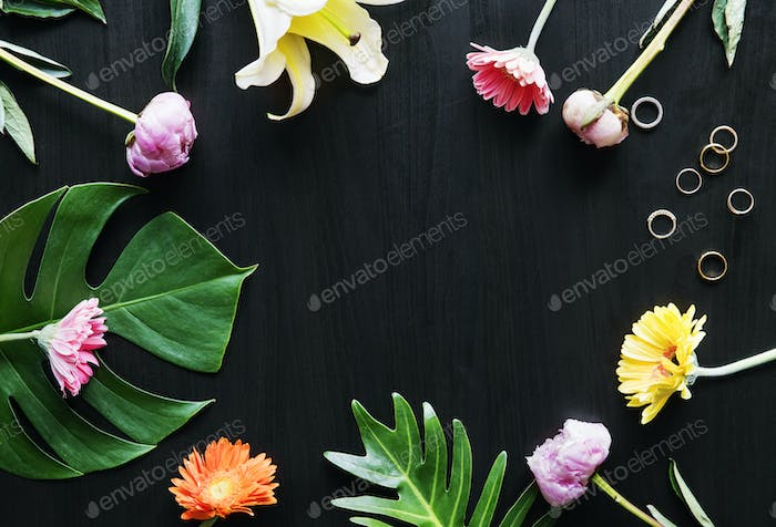Tropical flowers and leaves design space