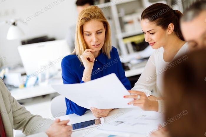 Successful business partners brainstormin
