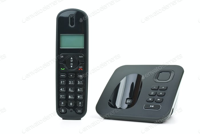 Black cordless phone handset and base unit