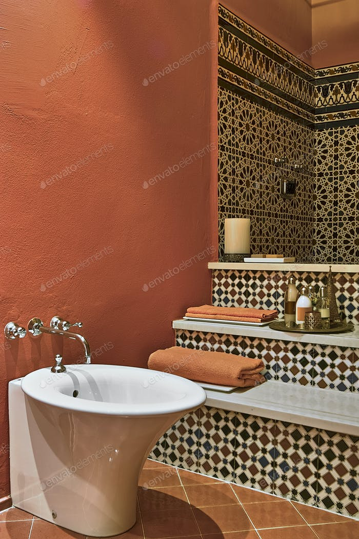 Interiors of a Ethnic Bathroom