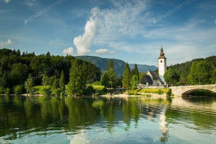 Old st john church at bohinj lake slovenia