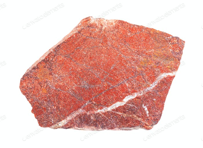 rough red jasper rock isolated on white