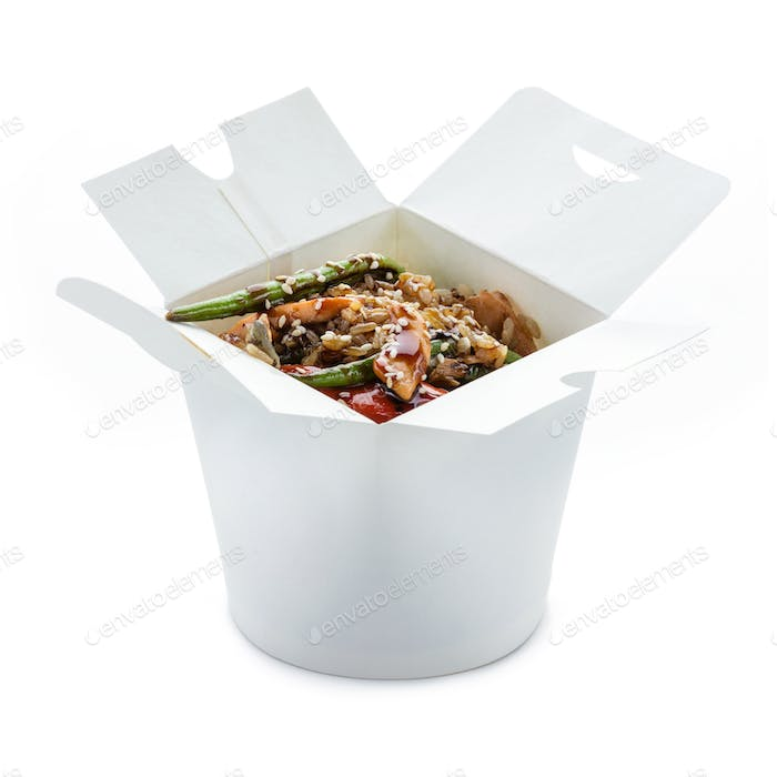 Wok rice with eel and salmon in paper box over white. With clipp