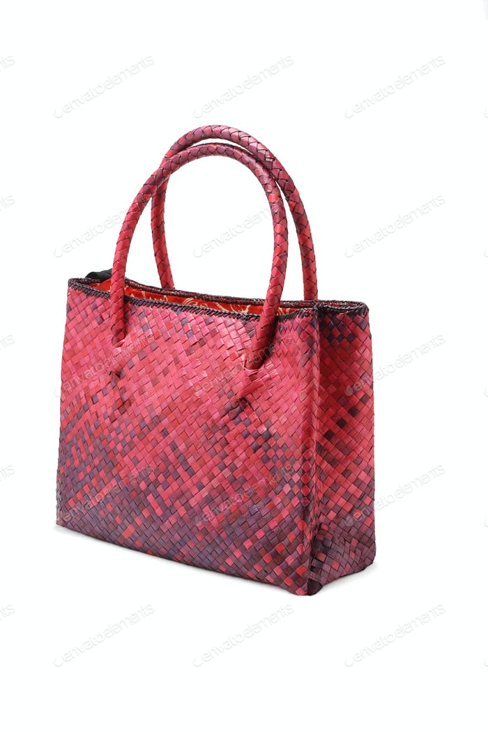 Woven plam leaf hand bag