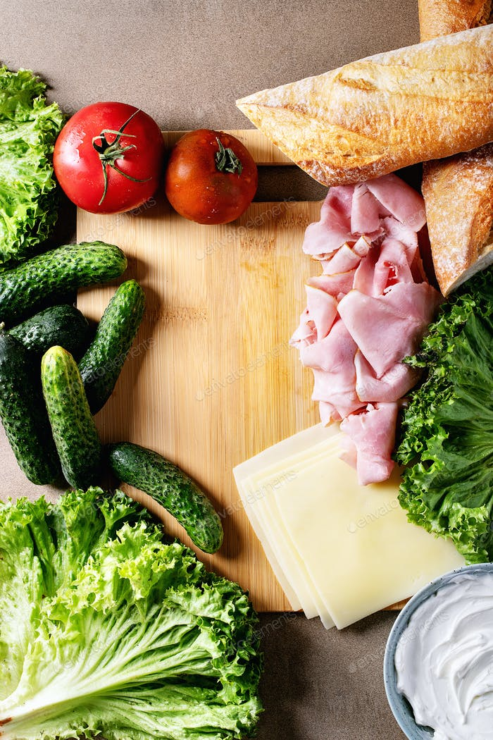 Ingredients for making sandwich