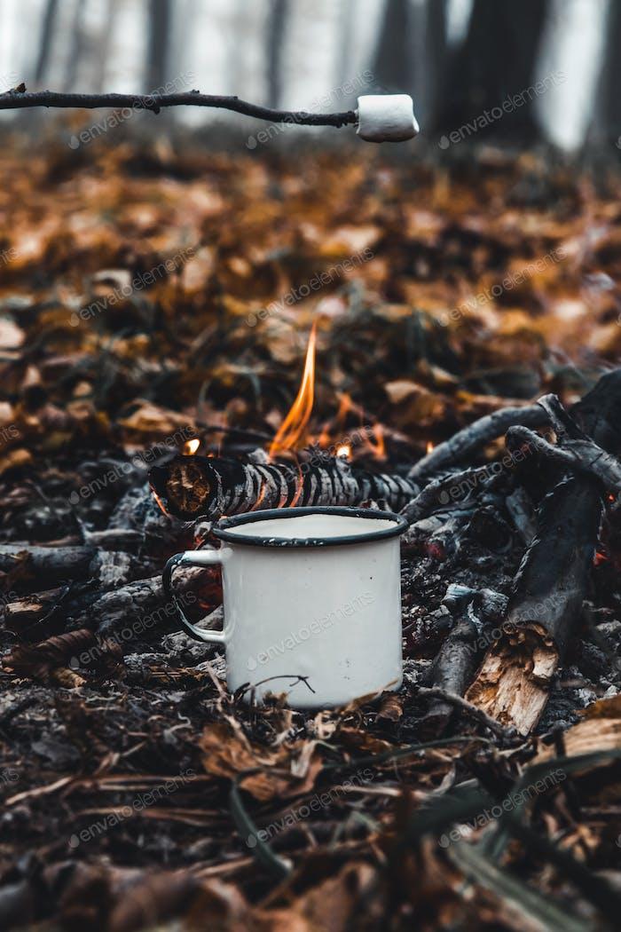 Marshmallows rösten auf dem Lagerfeuer und immer schön goldbraun